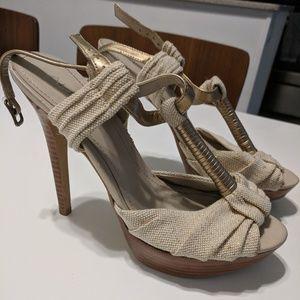Aldo gold and tan heels